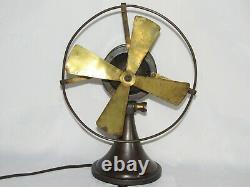 07f28 Ancien Ventilateur De Bureau Corps En Bronze 1920 1930 Art Déco Industriel