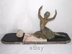 11d7 Ancienne Statue Femme Danseuse Art Déco Régule Patine Bronze Signe H. Molins