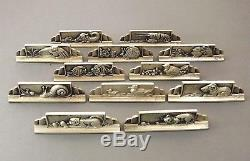 12 Portes Couteaux Figuratifs Animaliers En Bronze Argente Signes Gr Vers 1930