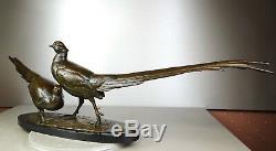 1920/1930 Av Becquerel Rare Gr Statue Sculpture Animaliere Bronze Couple Faisans
