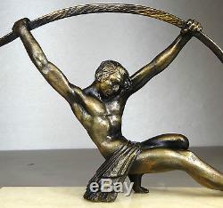 1920/1930 D H CHIPARUS RARE STATUE SCULPTURE ART DECO HOMME NU ATHLETE PT BRONZE