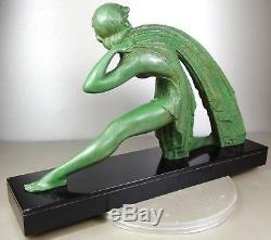 1920/1930 Dh. Chiparus Rare Grde Statue Sculpture Bronze Art Deco Femme Draperie