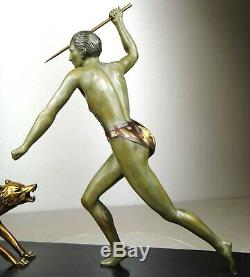 1920/1930 J Brault Rare Grd Statue Sculpture Bronze Art Deco Chasse Loup Athlete