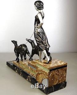 1920/1930 L Carvin Rare Statue Sculpture Art Deco Femme Barzoïs Levrier Elegante