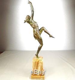 1920/1930 M Guiraud-riviere Rare Statue Sculpture Art Deco Bronze Danseuse Femme
