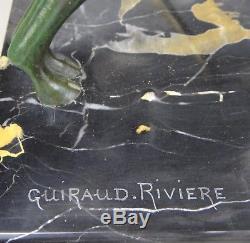 1920/1930 M Guiraud-riviere Rare Statue Sculpture Art Deco Bronze Diane Nue Cerf