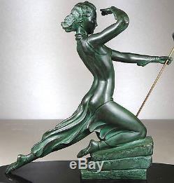 1920/1930 Menneville Rare Grde Statue Sculpture Art Deco Diane Chasseresse Femme