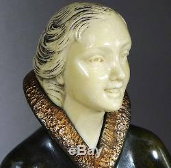 1920/1930 S. MELANI RARE STATUE SCULPTURE ART DECO CHRYSELEPHANTINE BRONZE FEMME