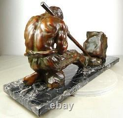 1920/1930 Santi Ugo Cipriani Grnd Statue Sculpture Art Deco Bronze Homme Athlete