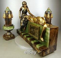 1920/30 A. Godard Pendule Garniture Sculpture Art Deco Orientaliste Bronze Dore