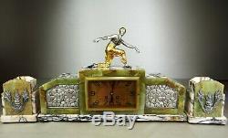1920/30 Pendule Garniture Statue Sculpture Art Deco Danseuse Bronze Dore Orient