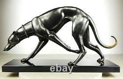 1920/30 Rochard Statue Sculpture Art Deco Bronze Animal Chien Levrier Greyhound