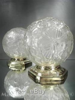 1920 Hettier & Vincent Paris Paire De Lampes Bronze Verre Soufflé-moulé Art Déco
