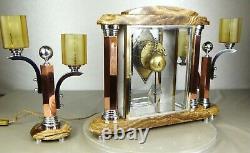 1930 Adnet Excpt Garniture Pendule Lampes Moderniste Art Deco Bronze Chrome Dore