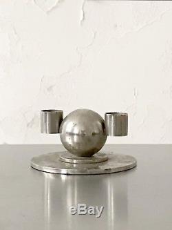 1930 JACQUES ADNET BOUGEOIR ART-DECO MODERNISTE BAUHAUS CUBISTE Candlestick
