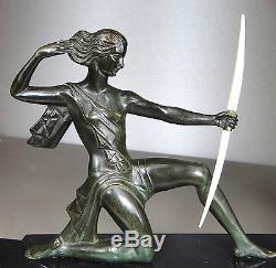 1930 SABARTES GUAL RAR STATUE SCULPTURE ART DECO CHRYSELEPHANTINE BRONZE CUBISME