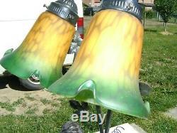 1970 Le Forgeron et son Fils grande lampe style art déco en résine h 75 cm