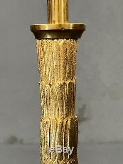1970 MAISON BAGUES LAMPE ART-DECO SHABBY-CHIC BRONZE Jansen Adnet Bamboo