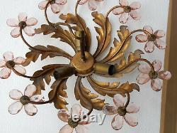 1970' Plafonnier ou Applique à Décor de Fleurs et Feuilles en Métal Doré
