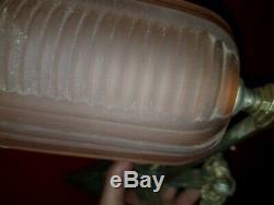 2 Appliques art deco en verre moule et bronze petitot paire d applique