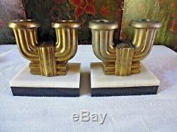 2 ancien bougeoir Art déco bronze doré et marbre