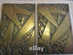 2 superbes plaques bas relief ART DECO en Laiton Maurice PICAUD