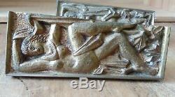 2 très belles poignées en Bronze ART DÉCO d'un meuble de Maurice JALLOT