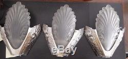 3 appliques verre ART DECO bronze argenté triplette wall lamp sconce bracket