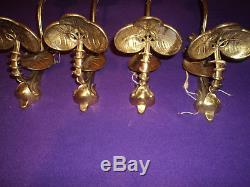 4 appliques bronze laiton tulipe daum muller art deco nouveau lampe lustre 1900. Black Bedroom Furniture Sets. Home Design Ideas