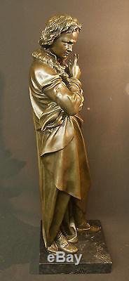 A 1930 grand bronze de Beethoven sculpture statue 21kg73cm art déco musique TBE