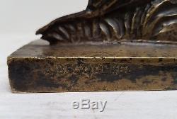 A. BECQUEREL Lièvre bondissant Bronze Art Deco vers 1930, fonte Susse Frères