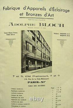 A. Bloch Lampe Building Art Déco En Bronze Nickelé & Globe Verre Pressé 1930