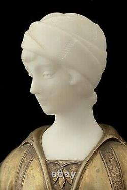 A. Trefoloni Buste En Marbre De Carrare Et Bronze Doré Garçonne Art Déco