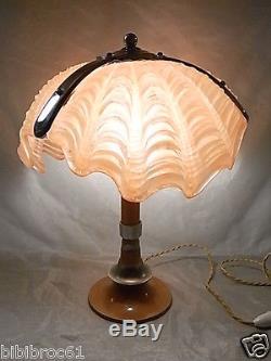Ancienne Lampe Pate Verre Bronze Art Deco Bureau Coquillage Benitier