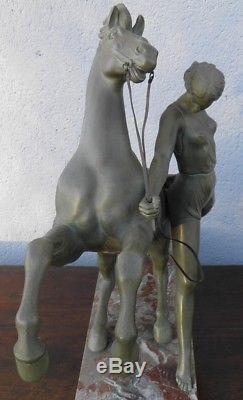 ANCIENNE STATUE ART DECO regule patine bronze années 30 cheval femme sculpture