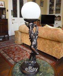 ART DECO NOUVEAU LADY LAMP BRONZE FIGURINE FIGURAL STATUE LIGHTING LIGHT