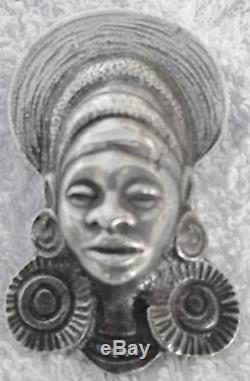 ART DÉCO RARE BROCHE et PENDENTIF EN BRONZE ARGENTÉ AFRICANISTE 1925