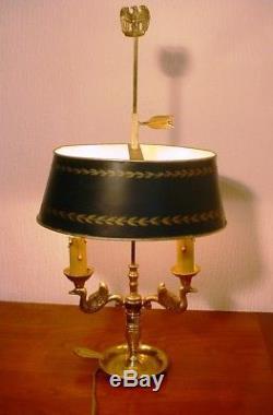 Adorable Petite Lampe Bouillotte Deux Feux Cygnes Style Empire Bronze Dore