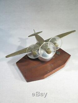 Ancien Avion Maquette Sculpture En Bronze Epoque Art Deco
