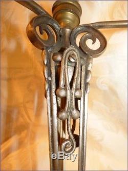 Ancien Beau Piéd de Lampe en Bronze Nickelé Epoque Art Déco