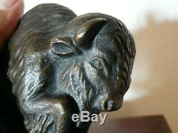 Ancien Bronze Animalier-bison-signecartier-art Deco-epoque 1930