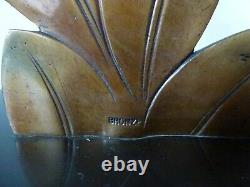 Ancien Lampe Bronze E. Guy Art Déco Oiseaux Sculpture Old Lamp Bird Shade Floral