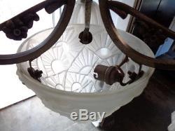 Ancien Lustre Art Déco Bronze Argenté signé Degue Tulipe Globe Obus Lampe