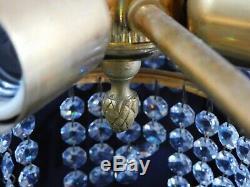 Ancien Lustre Corbeille En Bronze 3 Rangees De Pampilles 4 Feux Diam 39cm 11m01