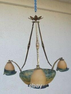 Ancien Lustre Suspension Art Deco Pate De Verre Signe Leg Armature Bronze