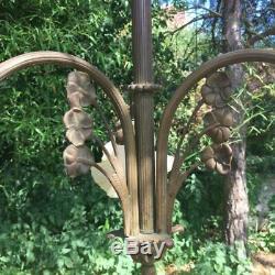 Ancien Lustre en Bronze tulipe en verre (vers les années 1930) art déco vintage