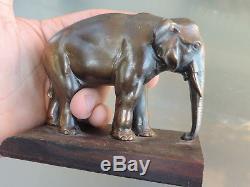 Ancien Serre Livres Art Deco Moderniste 1930 1940 Elephant Ebene Patine Bronze