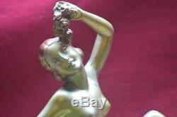 Ancien Statue Pltre Femme Nu Salvator Melani Decor Cheminee Art Deco Pas Bronze