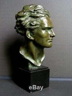 Ancien buste en bronze art deco representant l'aviateur Jean Mermoz