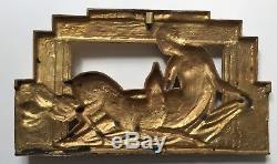 Ancien grand bas relief plaque en bronze Art Deco, a identifier, Art Nouveau